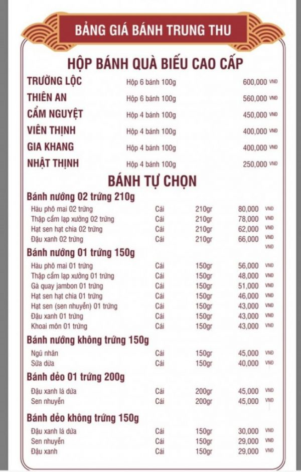 Bảng giá bánh trung thu richy