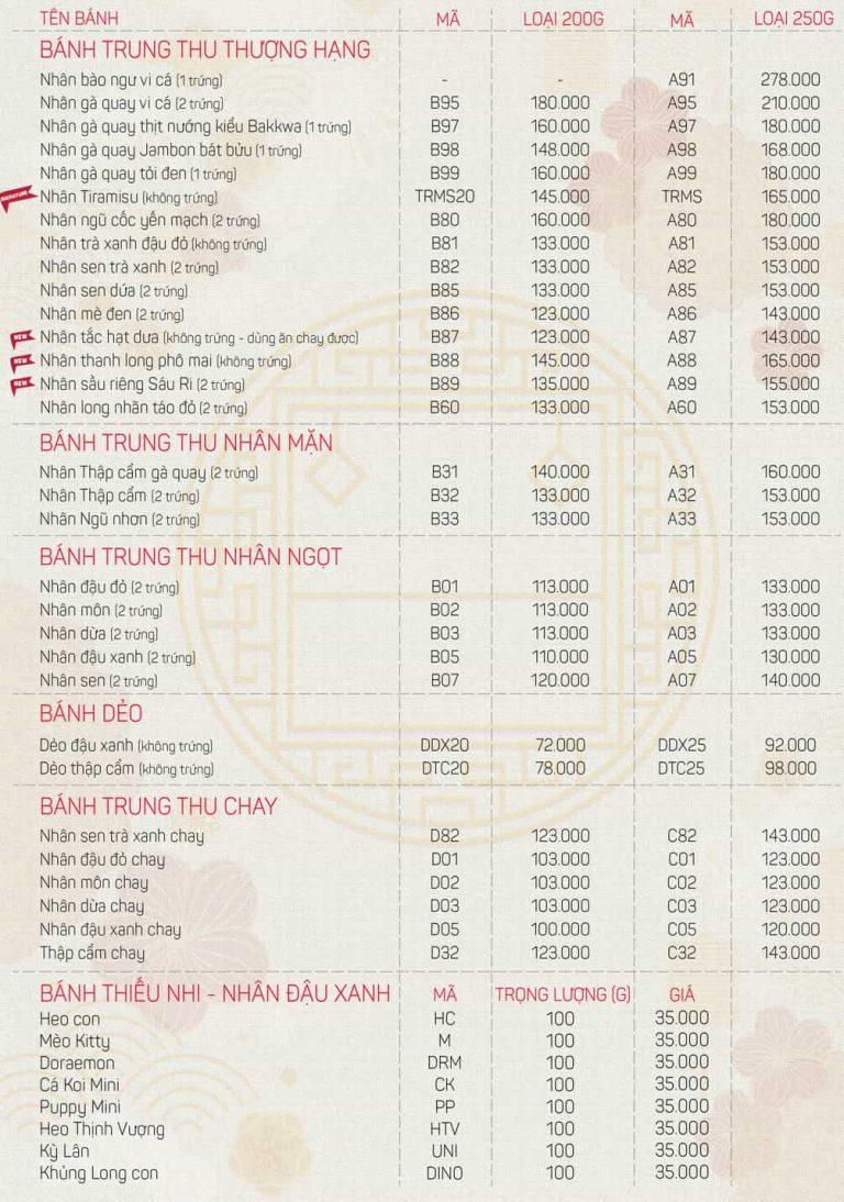 bảng giá bánh trung thu abc 2020
