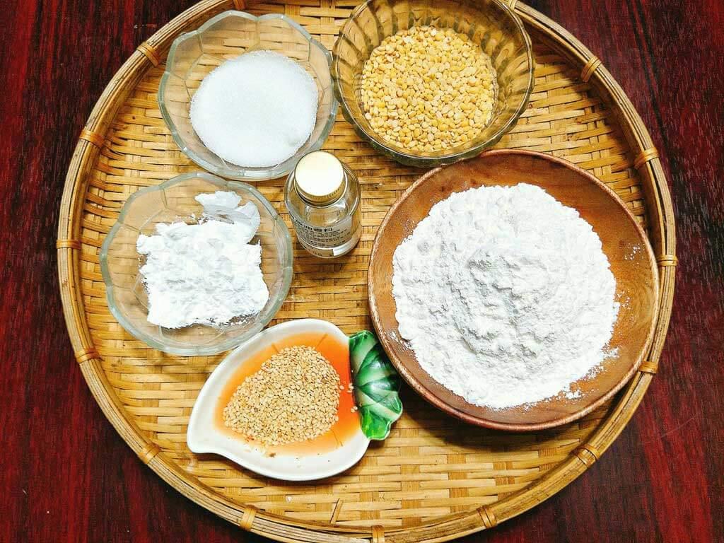 nguyên liệu làm bánh dẻo nhân đậu xanh truyền thống